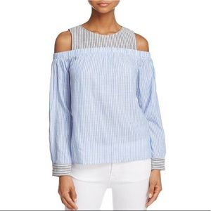 Honey Punch Striped Cold Shoulder Top
